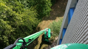 Looking down 90 feet from the boom lift.